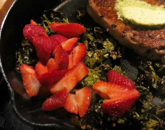 Kale Sautéed with Strawberries