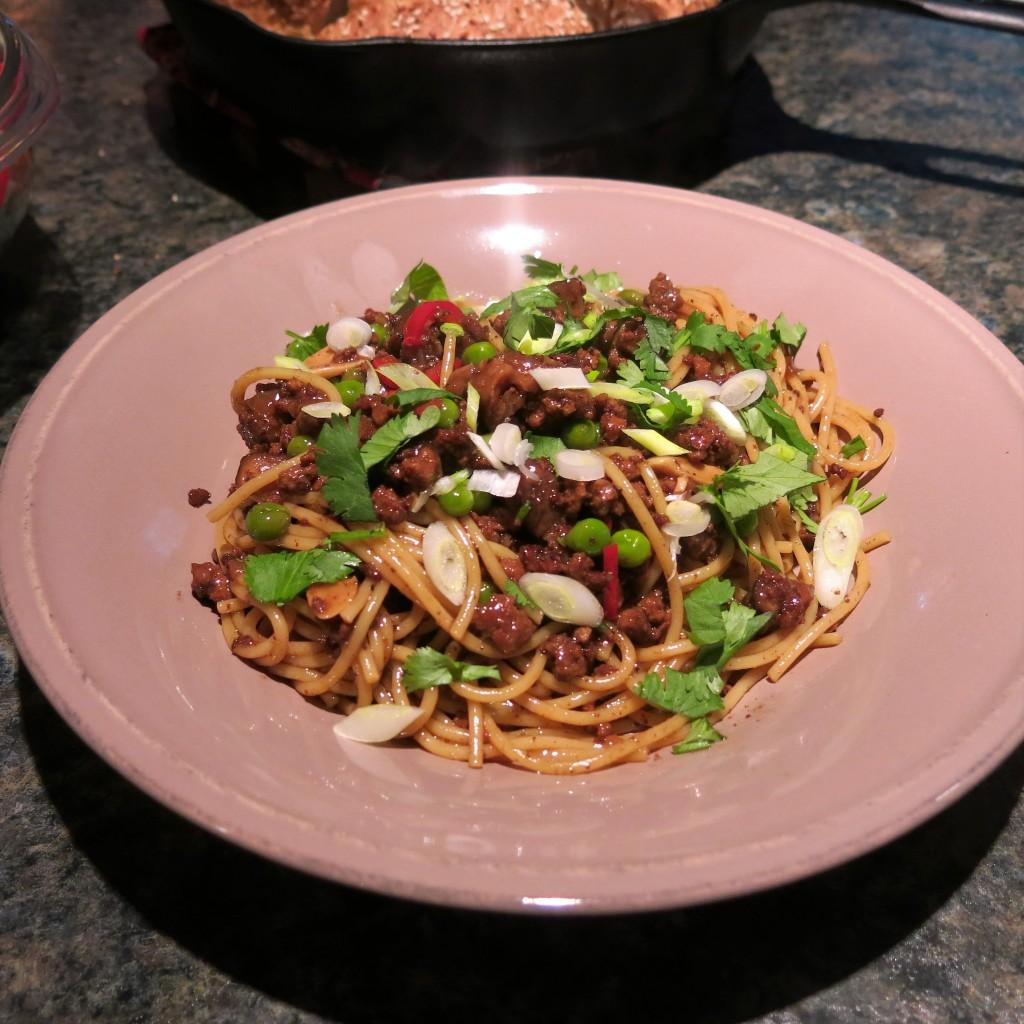 Asian-Style Pasta & Meat Sauce