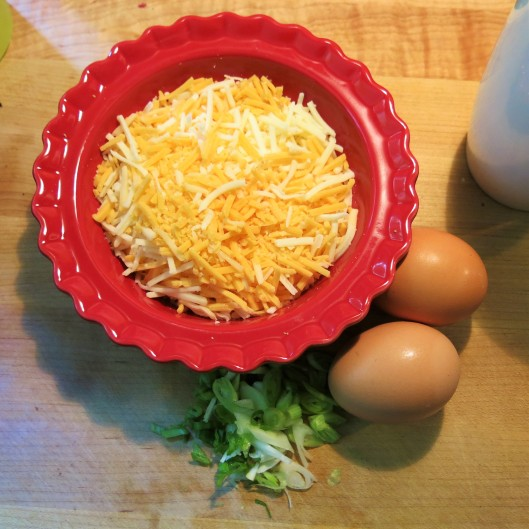 Sliced Scallion, Eggs & Shredded Cheese
