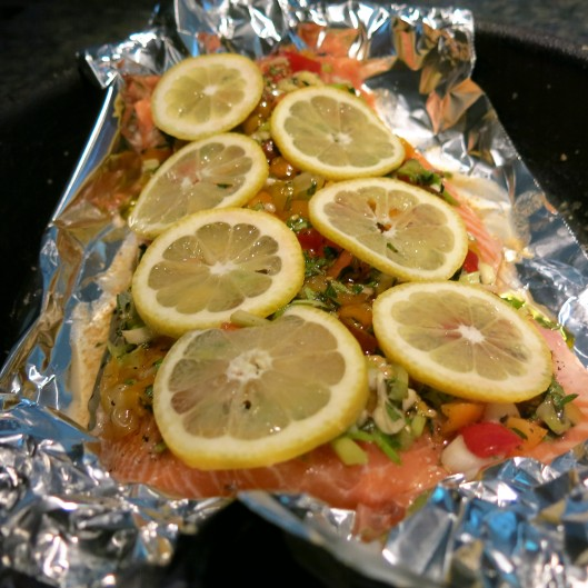 Greek Salmon ready for the Broiler