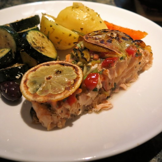 Salmon with Greek Flavors