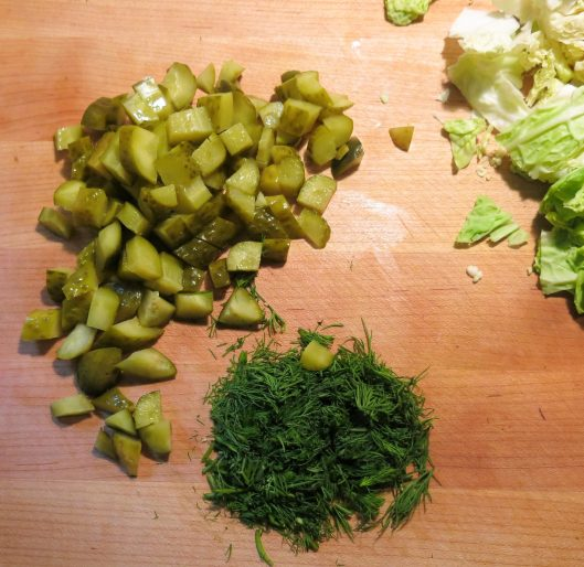 Diced Polish Dill Pickles and Chopped Fresh Dillweed for Kielbasa with Potatoes, Cabbage and Dill Pickles