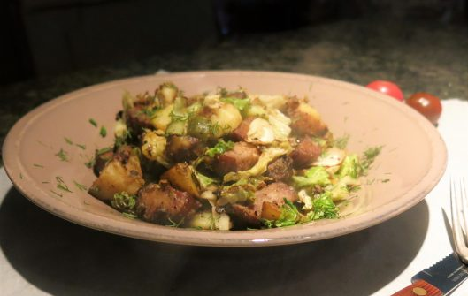 Kielbasa with Potatoes, Cabbage and Dill Pickles