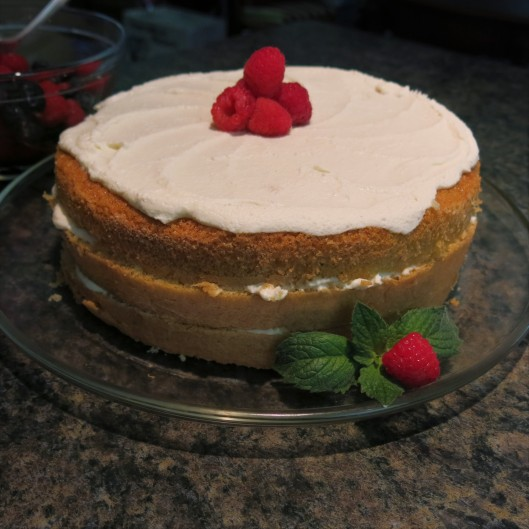 Cassata with Ricotta-Mascarpone Filling with Raspberries