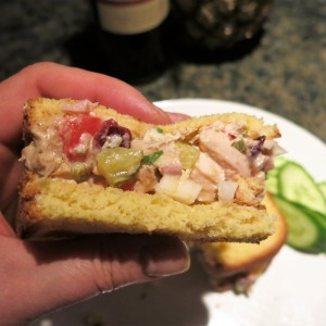 Leftovers! — Chicken Salad with Tomatoes, Scallions and Fruit on Toasted Potato Bread