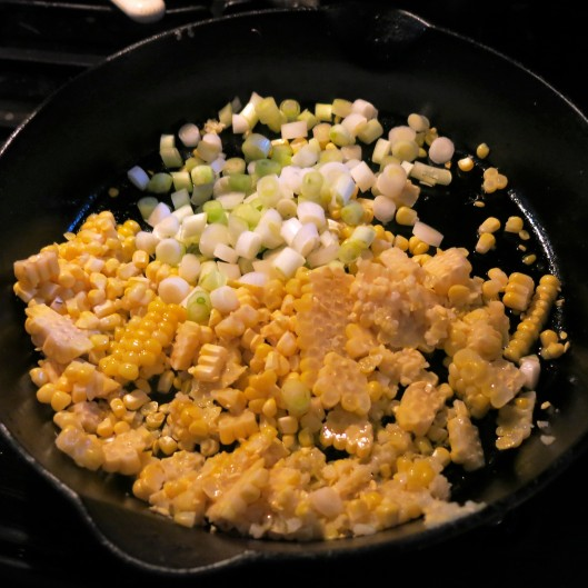 Pasta with Creamy Corn, Tomato and Herbs - Sautéing the corn and scallions together