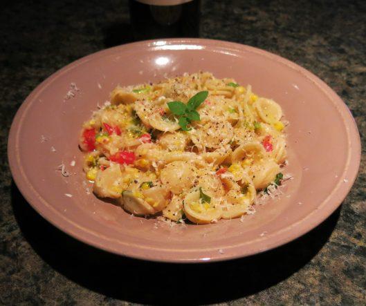 Pasta with Creamy Corn, Tomato and Herbs