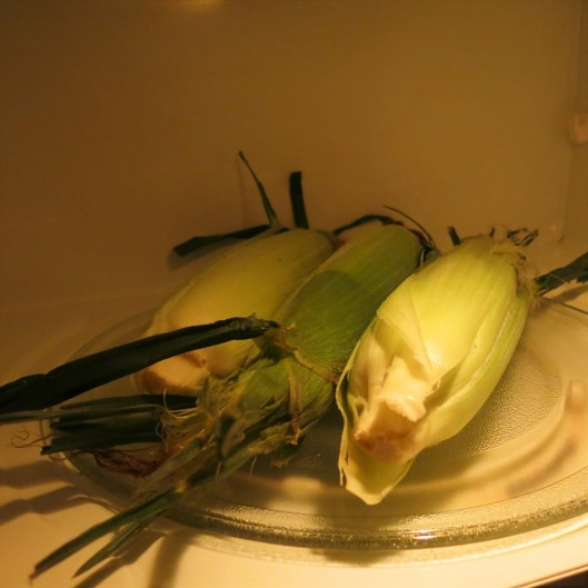 Three Ears of Corn in the Microwave