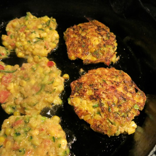 Spicy Corn and Zucchini Cakes with Tomato Bits