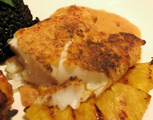 "Fish Fillet Coated with ""The Dredge"" and Pan-Fried"