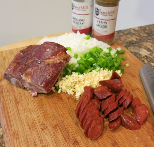 Smoked Meat, Chorizo, Sofrito and Seasoning for Cuban-Style Black Beans à la Pressure Cooker