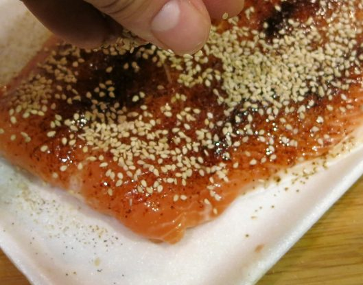 Pan-Seared Coffee-Rubbed Salmon with Sesame Seed Crust