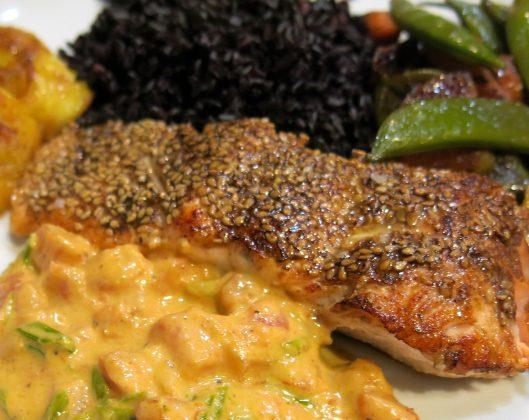 Pan-Seared Coffee-Rubbed Salmon with Sesame Seed Crust