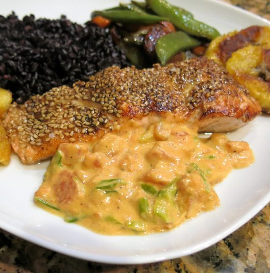 Pan-Seared Coffee-Rubbed Salmon with Sesame Seed Crust with Papaya-Scallion Cream Sauce