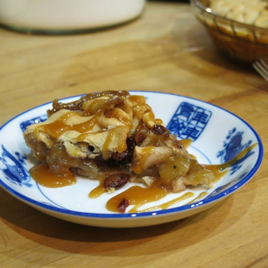 Rustic Apple-Pear Tart with Caramel Apple Sauce with Bourbon