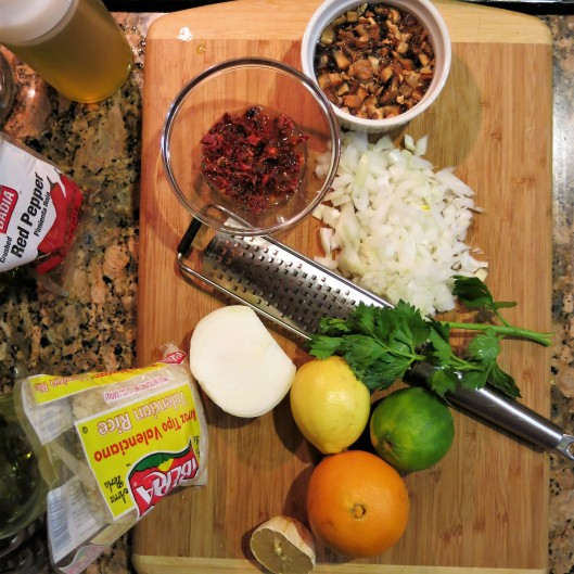 Mise en Place for Citrus-Laced, Cuban-Style Risotto with Shrimp, Sun-Dried Tomatoes and Mushrooms