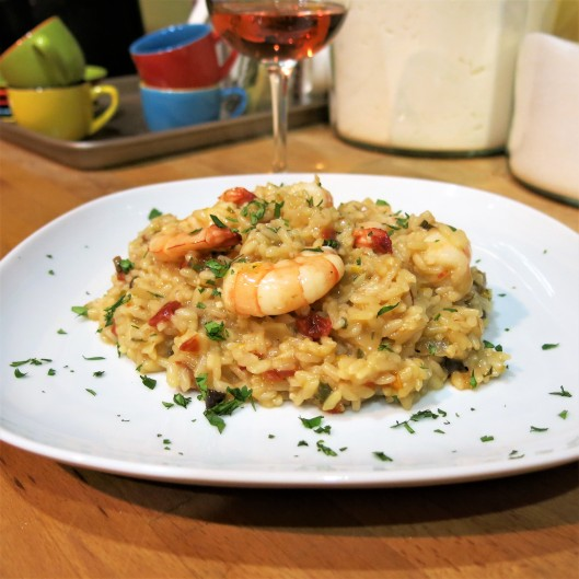 Citrus-Laced, Cuban-Style Risotto with Shrimp, Sun-Dried Tomatoes and Mushrooms