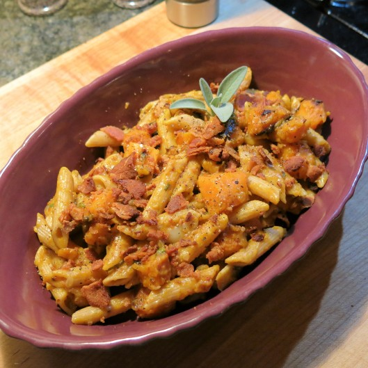 Pasta with Butternut-Bacon Cream Sauce with Sage