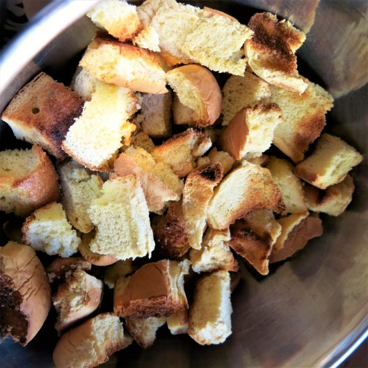 Toasted Bread Cubes for Bread Stuffing with Leeks, Celery and Herbs with a Browned Butter Drizzle
