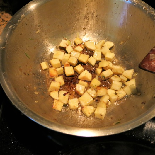 Diced Sautéed Parsnips for Bread Stuffing with Leeks, Celery and Herbs with a Browned Butter Drizzle
