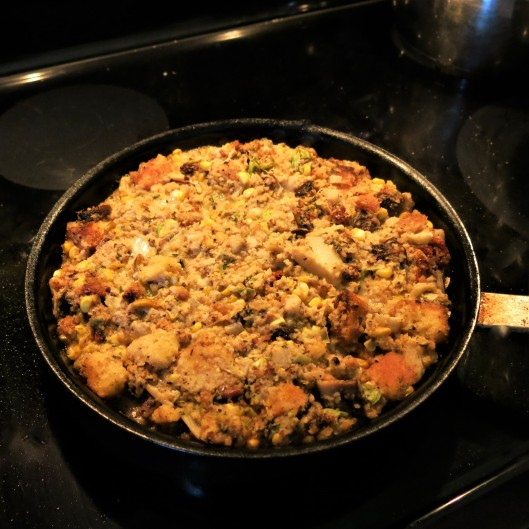 Savory Cornbread Stuffing with Fennel, Leeks and Mushrooms