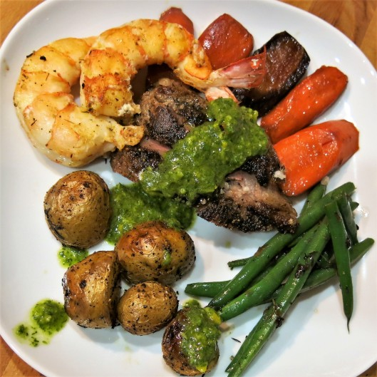 Steak and Shrimp with Parsley-Cilantro-Orange Chimichurri