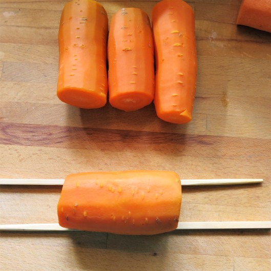 Partially Cooked Carrots for Hasselback Carrots with a Seasoned Crumb Stuffing