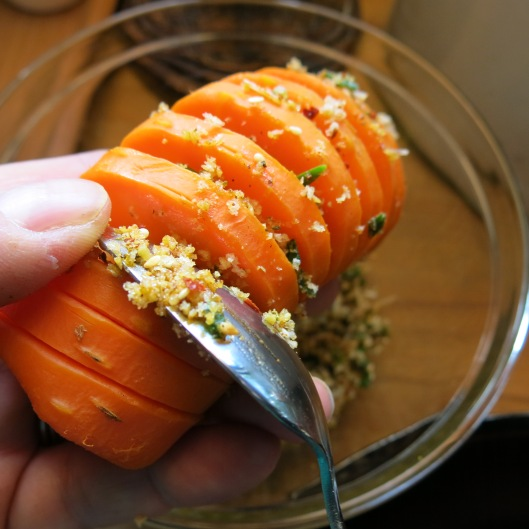 Stuffing the Hasselback Carrots with a Seasoned Crumb Stuffing