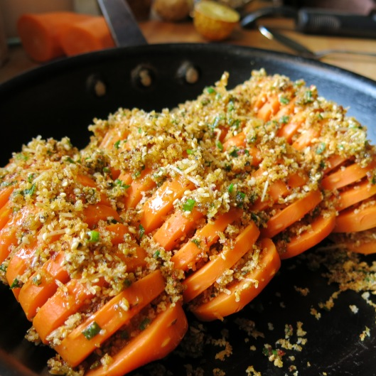 Hasselback Carrots with a Seasoned Crumb Stuffing