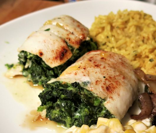 Roll-Your-Own Sole Filled with Spinach Drizzled with Brown Butter