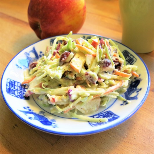 Broccoli-Apple Slaw with Cranberries and a Creamy Citrus Dressing