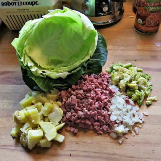 Ingredients for Corned Beef-Potato Cabbage Rolls with Cider-Tomato Sauce
