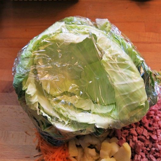 Cabbage Ready to be Nuked for Corned Beef-Potato Cabbage Rolls with Cider-Tomato Sauce
