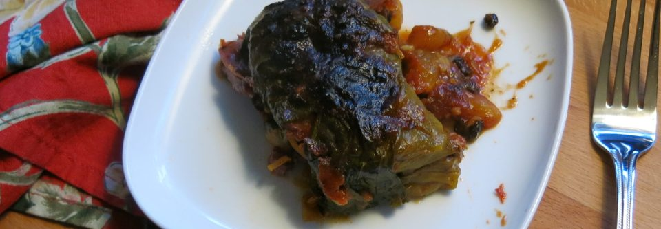 Corned Beef-Potato Cabbage Rolls with Cider-Tomato Sauce