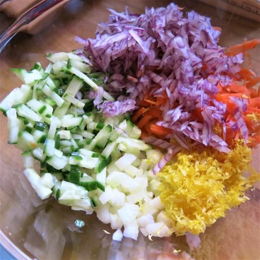 Sea Legs & Sweet Pea Salad with Lemon-Yogurt Dressing