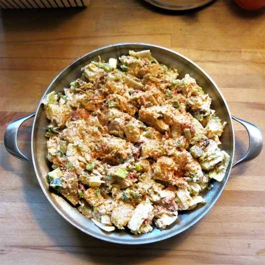 Hot Potato Salad with Bacon, Cheese and Sun-Dried Tomatoes