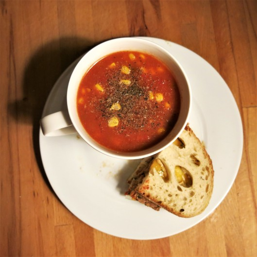 Tomato-Corn Chowder with Meatloaf Romana Sandwich