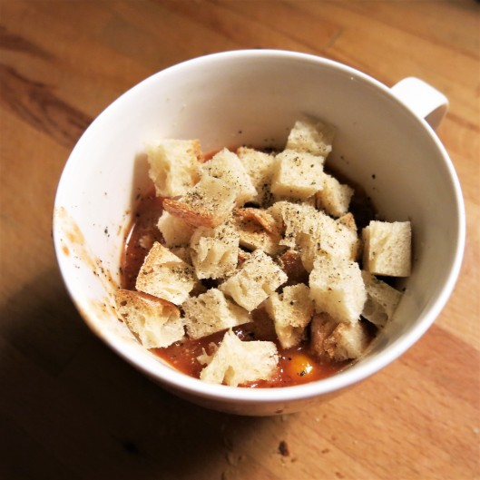 Tomato-Corn Chowder with Bread Cubes