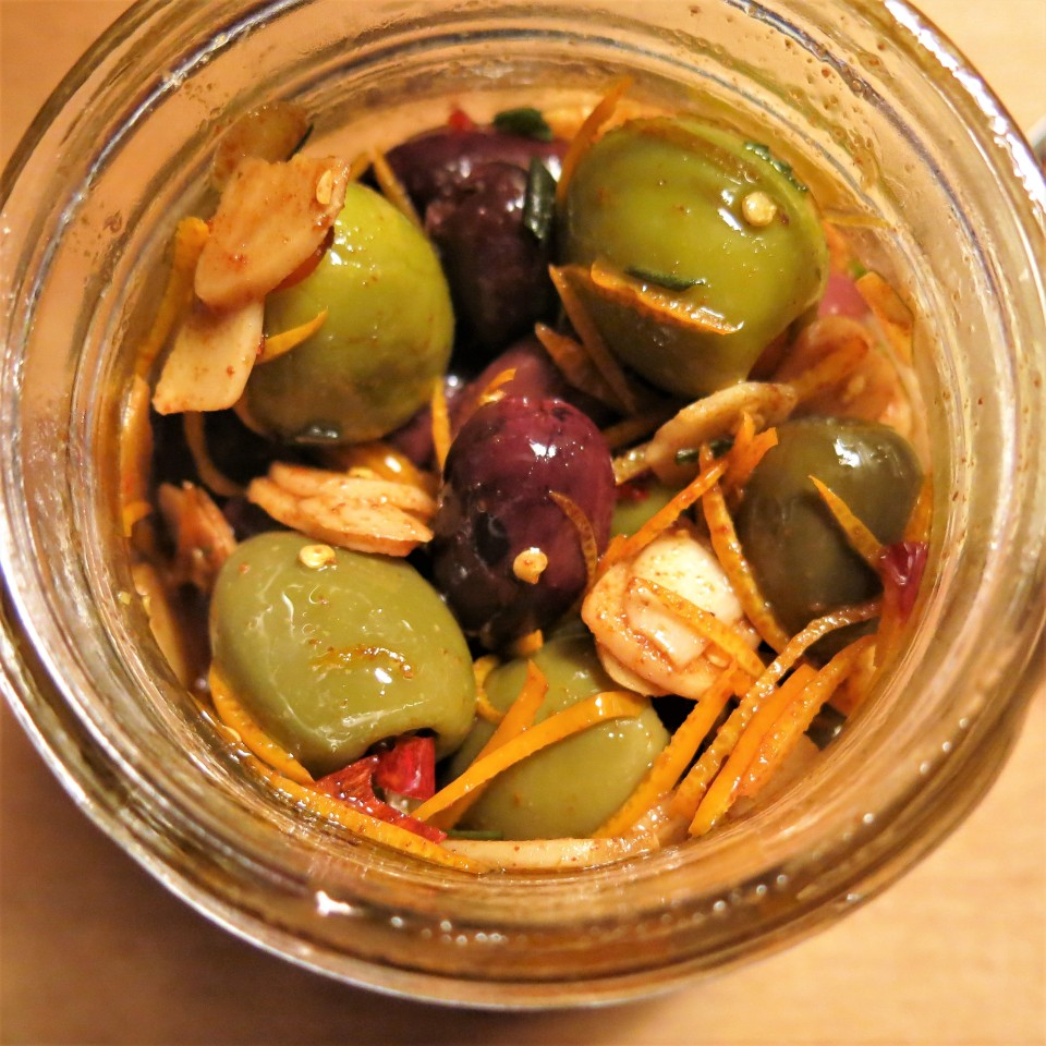 Olives Marinated with Orange, Garlic, Red Pepper & Rosemary