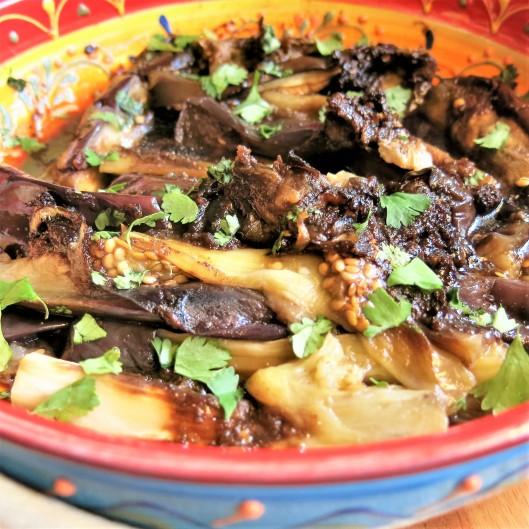 Roasted Eggplant Wedges with Soy-Balsamic Glaze