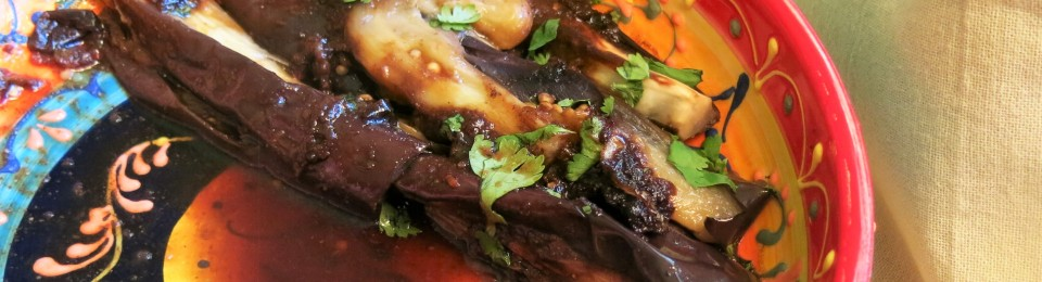 Roasted Eggplant Wedges with Soy-Balsamic Glaze