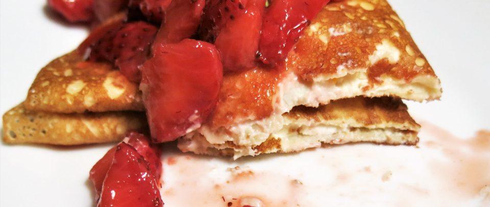 Crêpes with Ricotta-Mascarpone Filling & Strawberries