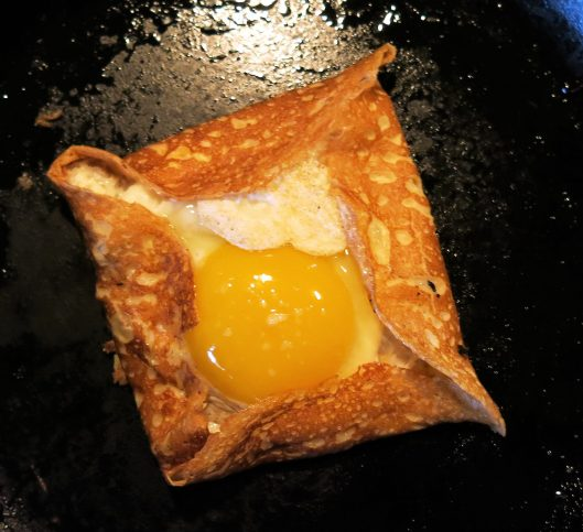 Ham & Cheese Filled Crêpe with an Egg Top Hat