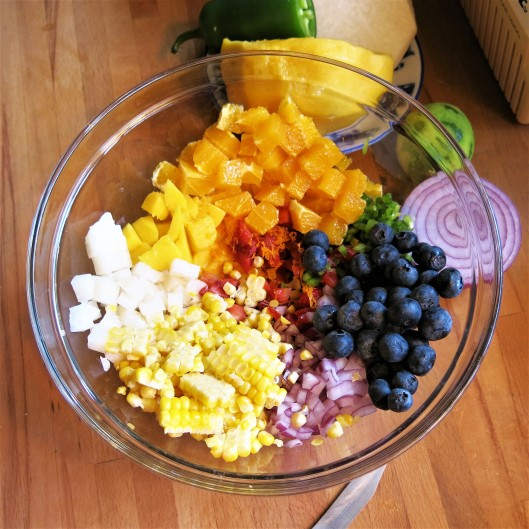 Chopped Fruit and Vegetables for Touch-of-Spring Ceviche