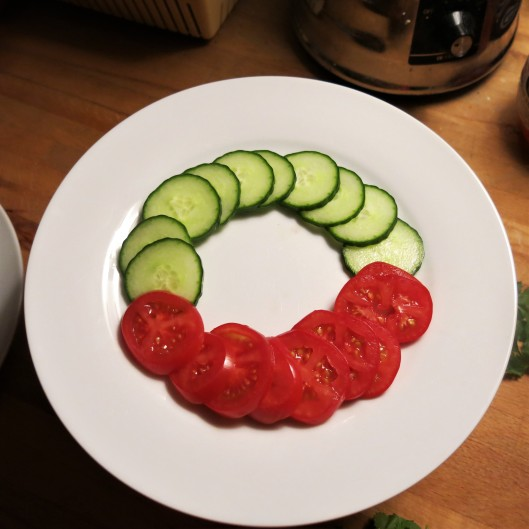 Tomato & Cucumber Slices for Chopped Fruit and Vegetables for Touch-of-Spring Ceviche