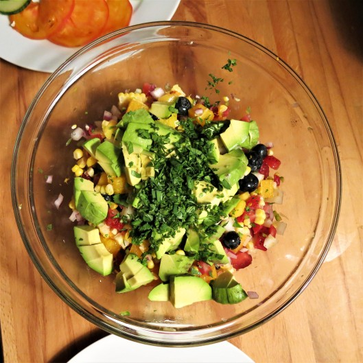 Chopped Fruits, Vegetables and Herbs for Touch-of-Spring Ceviche