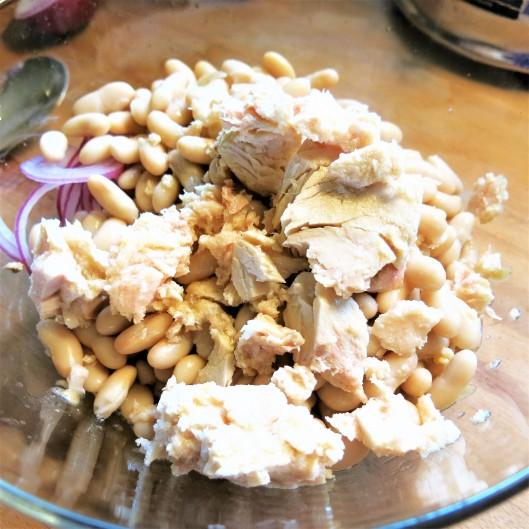 White Bean, Tuna, Red Onion and Caper Salad