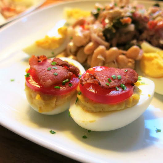 Deviled Eggs with Bacon Top Hat