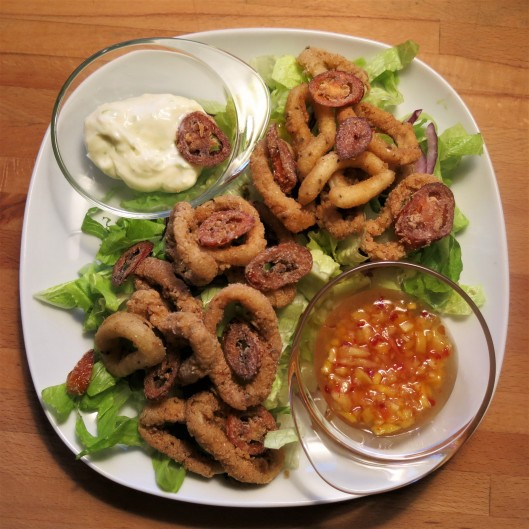 Calamari Frita (Fried Calamari) with Dipping Sauces