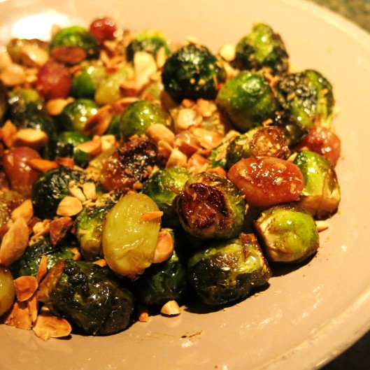 Roasted Brussels Sprouts with Grapes and Marcona Almonds